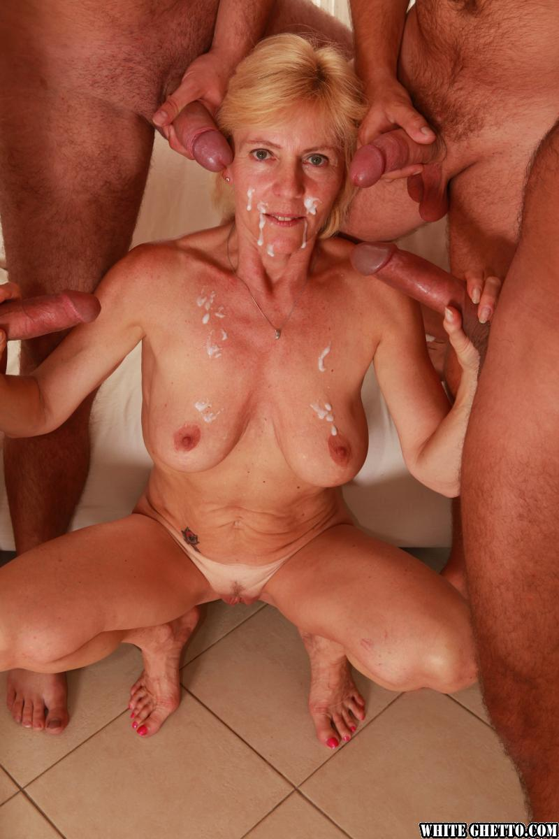 Old granny in white lingerie gangbanged by lots of black studs